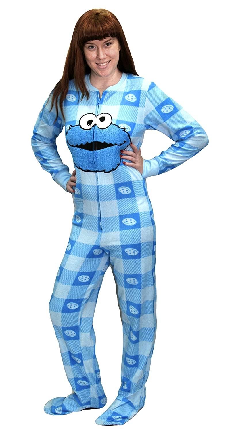 0131f8ff Amazon.com: Sesame Street Womens Patterned Cookie Monster Footed Onesie  Pajama: Clothing