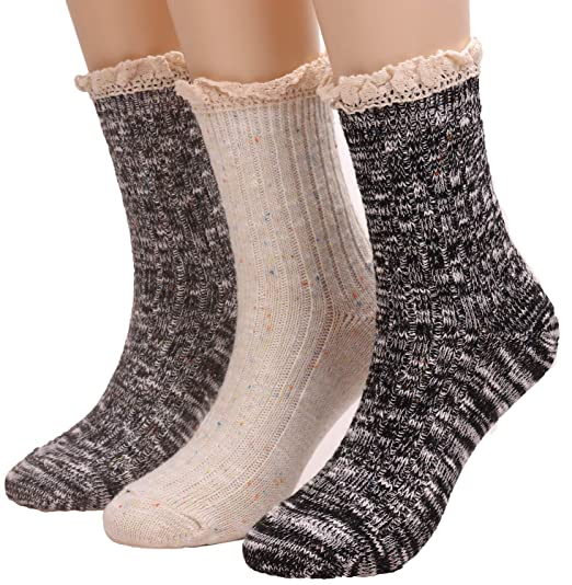 5a57be58d4 3 Pairs Womens Thick Warm Cotton Knit Boot Socks With Lace Trim W29 (solid  color