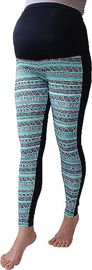 Multicoloured Print Leggings Maternity Zigzag Leggings Over Bump Chevron Print L, Chevron Stripes No See Through Maternity Leggings Pregnancy Yoga Wear