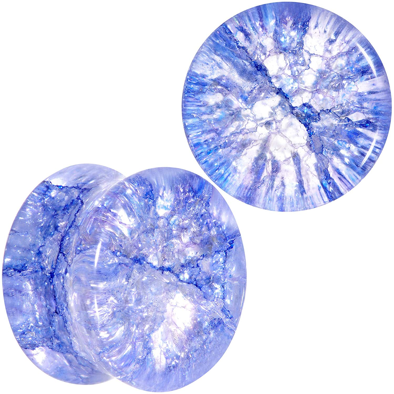 Body Candy 9//16 2Pc Blue Glass Shattered Pattern Saddle Plug Double Flare Ear Plug Gauges Set of 2 14mm