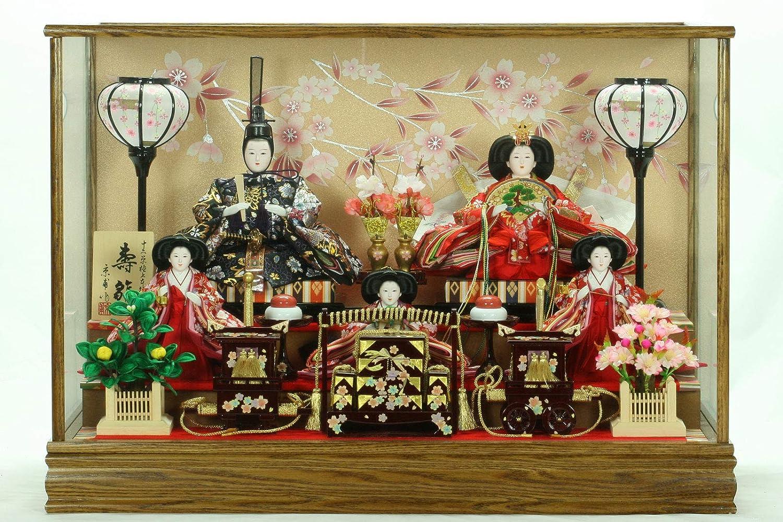 ひな人形ガラスケース入り5人飾り小三玉 3035-33   B07MDM3RP7