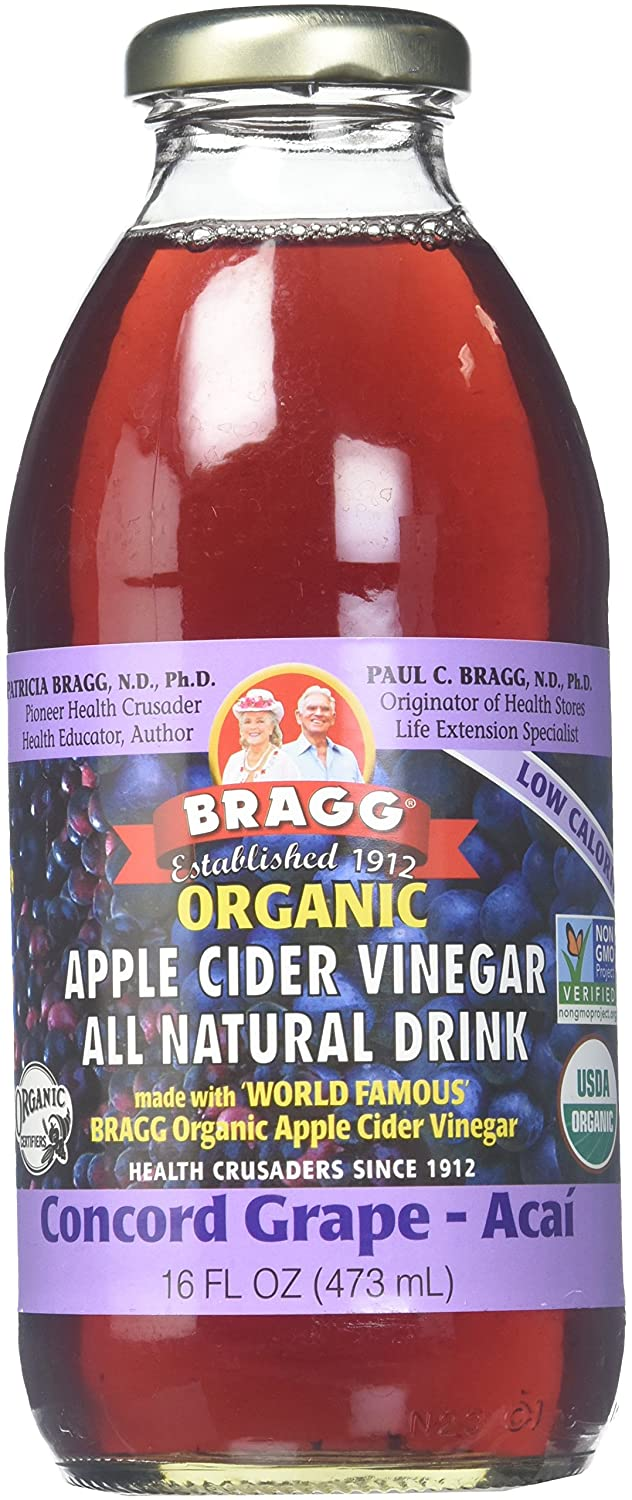 Bragg Bev Apple Cider Grape and Acai 16 Ounce Pack of 12