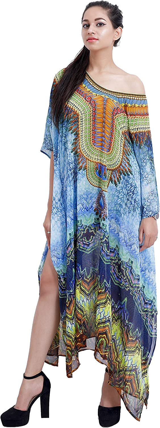 Papilon Attractions Womens Kaftan Beach Coverup Maxi Dress Swimsuit Kimono with Floral Print One Size ; Flammen