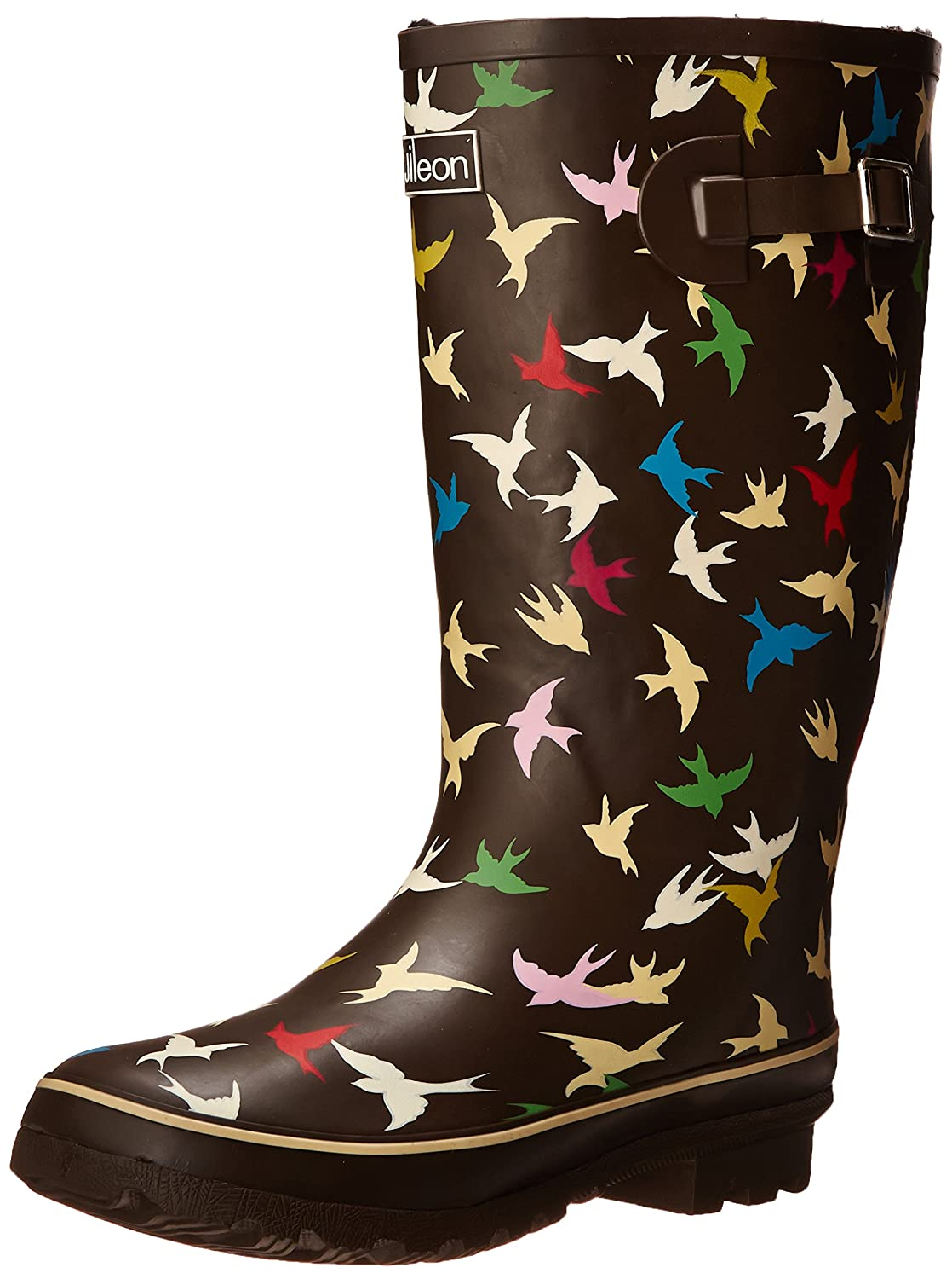 Wide Calf Wellies - Fit up to 18 inch calf - Brown with Coloured Birds - Fleece Lined
