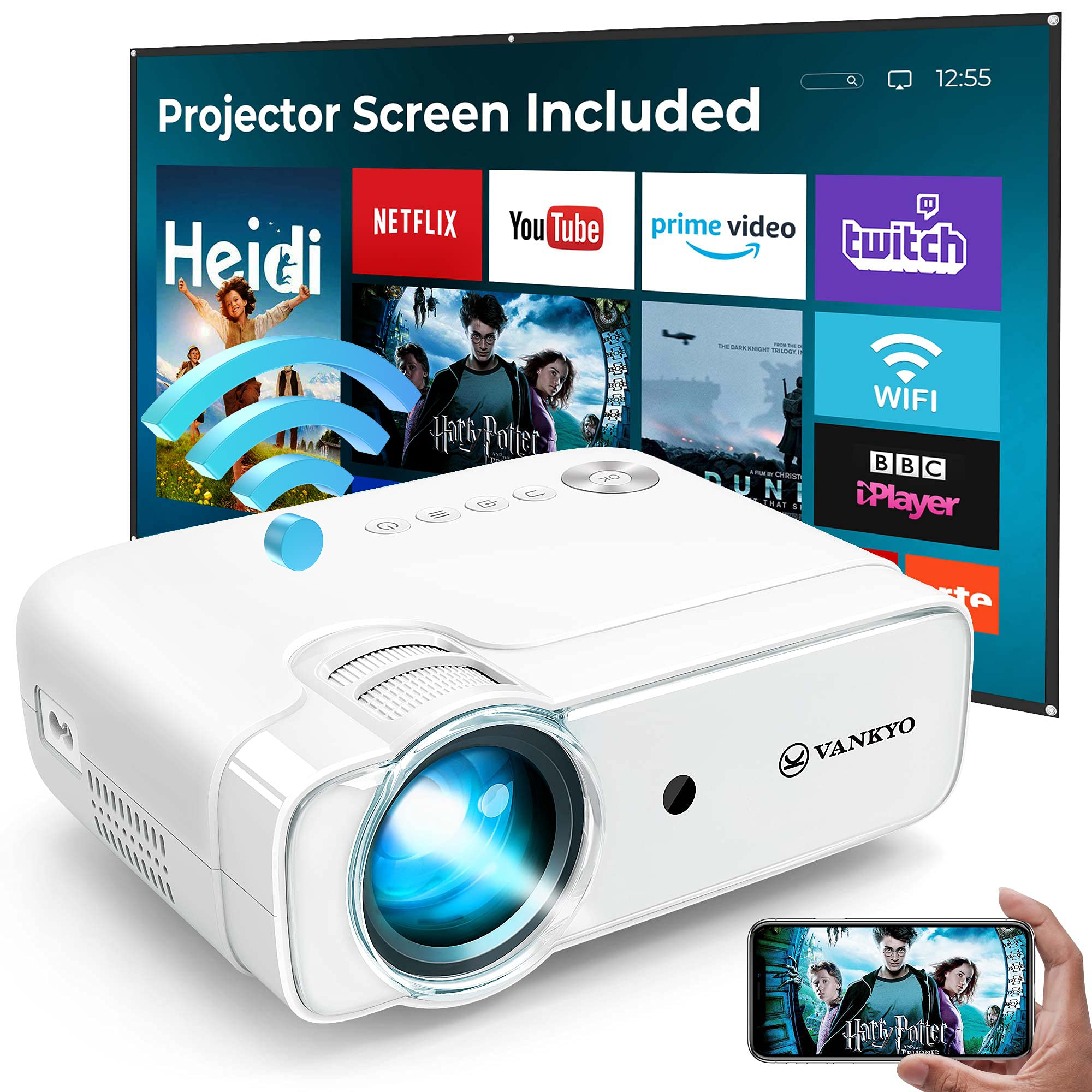 """VANKYO L430W WiFi Mini Projector w/ 100 Inch Projector Screen, 6500 Lumens Portable Movie Projector Supports Full HD 1080P & 236"""" Display Compatible with TV Stick, HDMI, USB, PS5, iPhone, Android"""