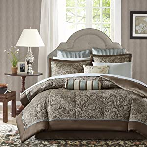 Madison Park Aubrey Full Size Bed Comforter Set Bed In A Bag - Blue, Brown , Paisley Jacquard – 12 Pieces Bedding Sets – Ultra Soft Microfiber Bedroom Comforters