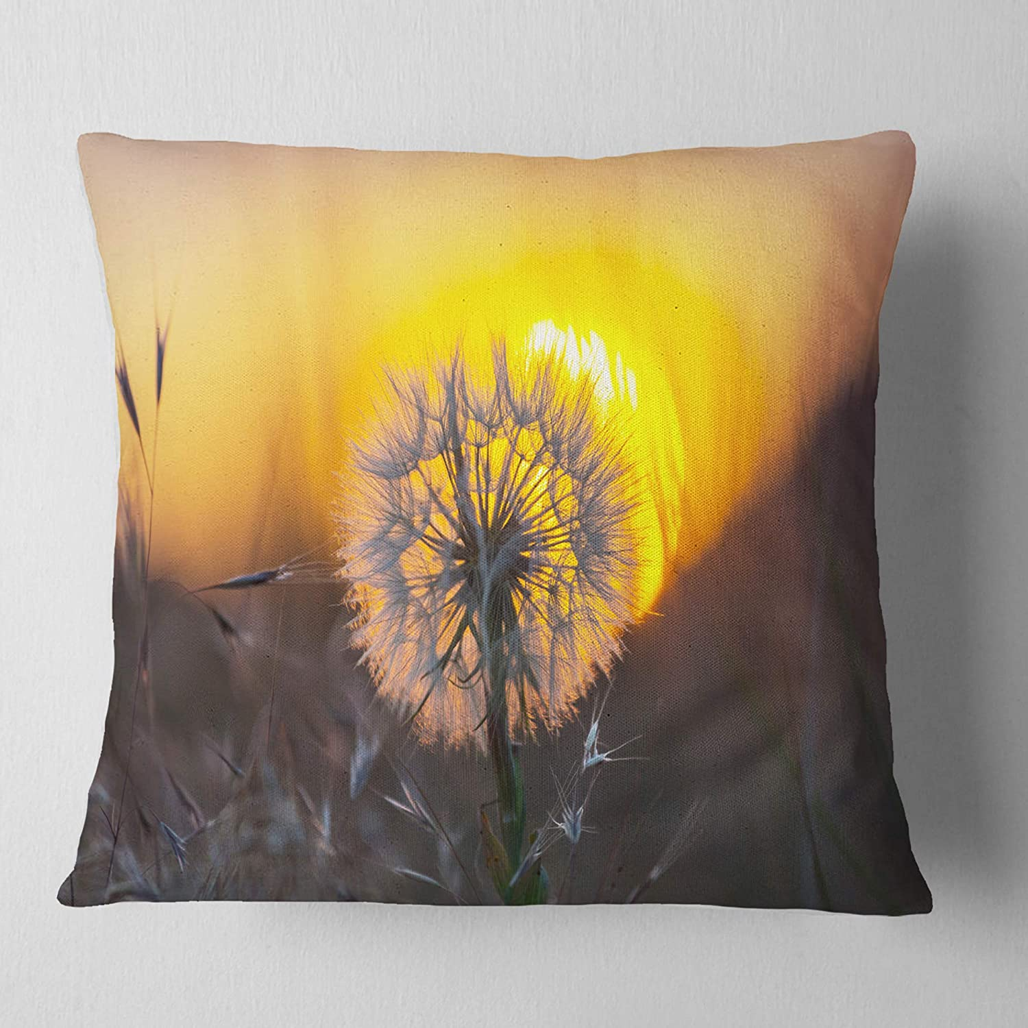 Designart CU12797-26-26 Stunning Dandelion View at Sunset' Floral Cushion Cover for Living Room, Sofa Throw Pillow 26 in. x 26 in. in