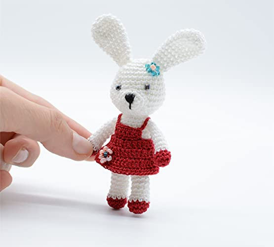 Little Bunny Toy Girl With Red Dress Handmade Toy Crochet