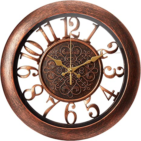 Vintage Wall Clock Home Decor Accents for Study,Living Room,Battery Operated