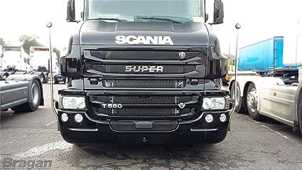 Scania camión pulido acero inoxidable super parrilla emblema ...