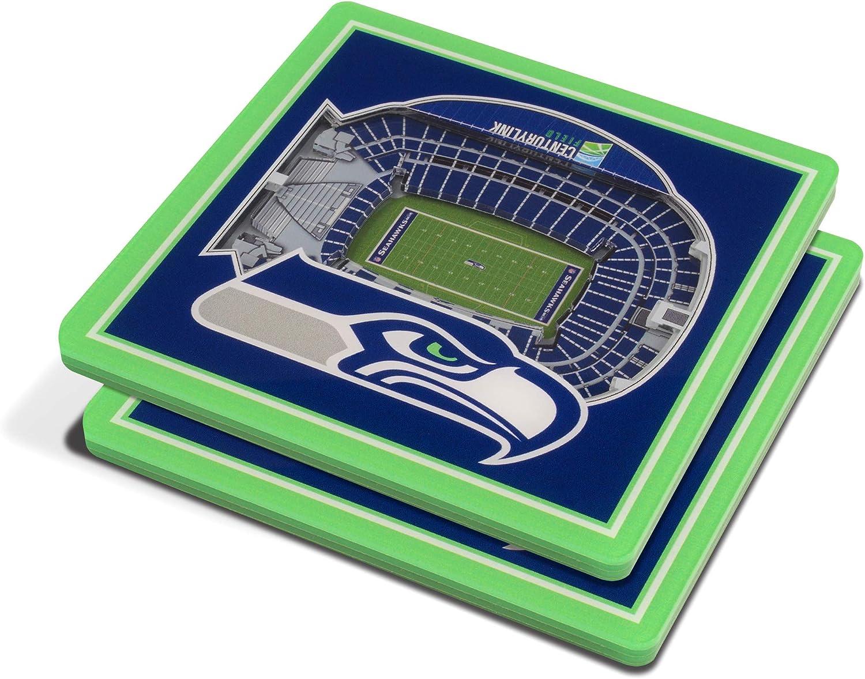 YouTheFan NFL 3D Team StadiumViews 4x4 Coasters - Set of 2