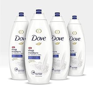 Dove Body Wash For Dry Skin Deep Moisture Gentle Bodywash, 22 Fl Oz, Pack of 4