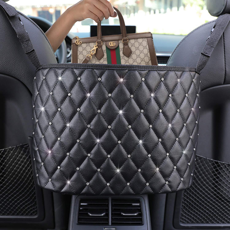 Car Net Pocket Handbag HolderPurse Hook for CarLeather Seat Back Organizer Mesh