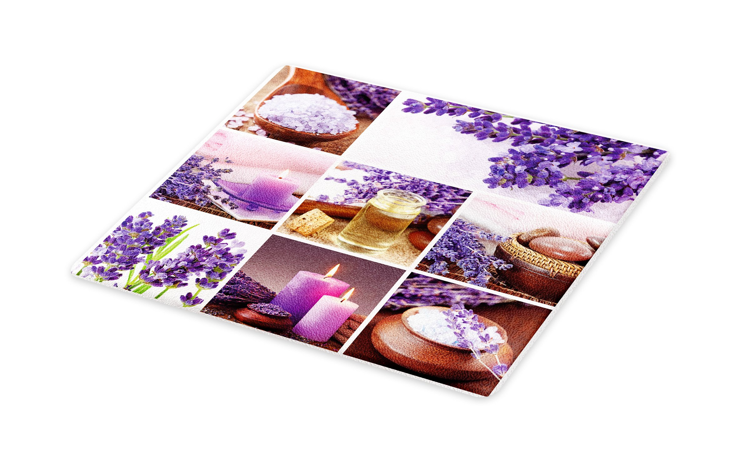 Lunarable Spa Cutting Board, Lavender Garden Alike Themed Relaxing Candles Stones Herbal Salt Elements Image, Decorative Tempered Glass Cutting and Serving Board, Large Size, Purple and White