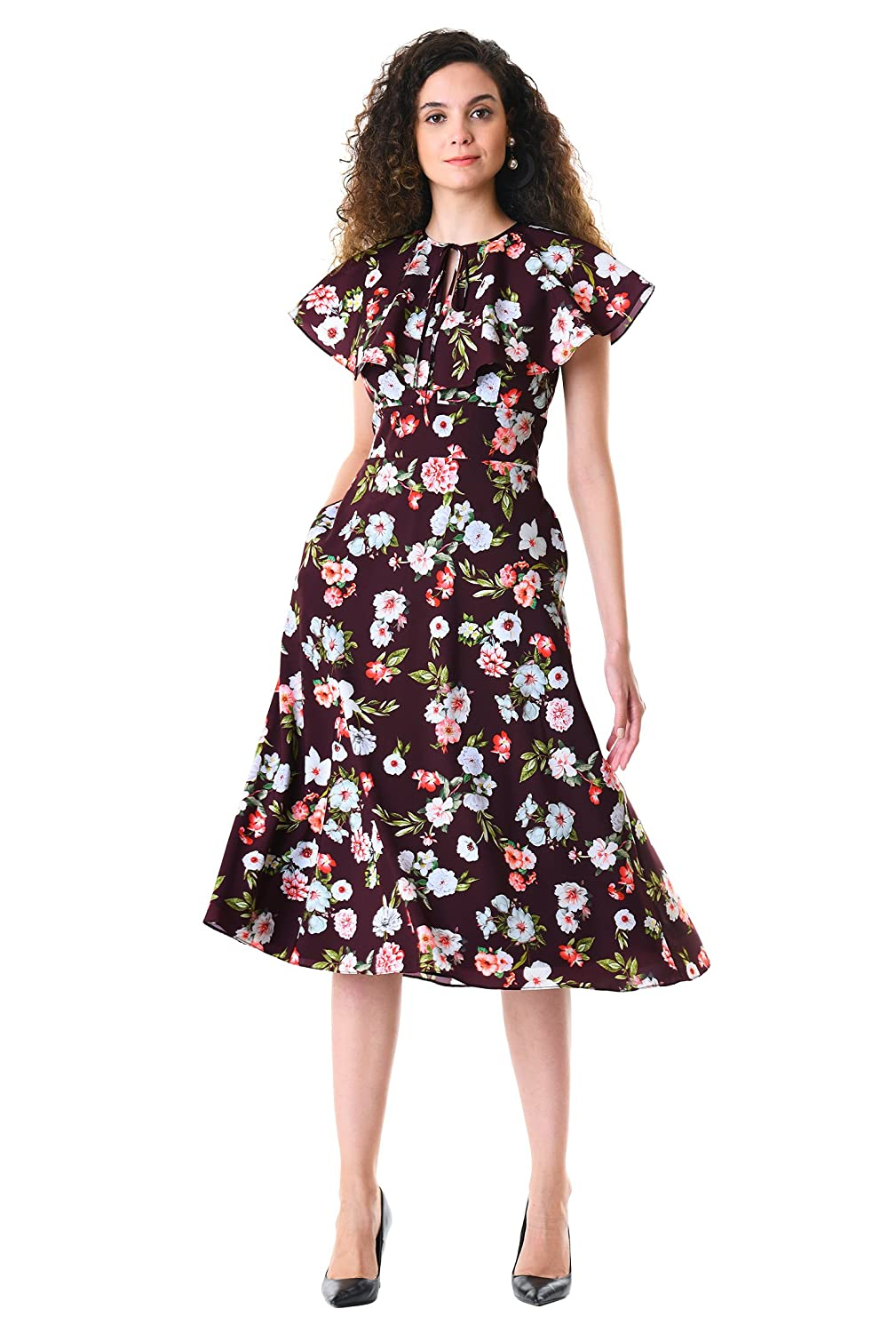 1930s Day Dresses, Afternoon Dresses History eShakti Womens Ruffle Floral Print Crepe Dress $79.95 AT vintagedancer.com
