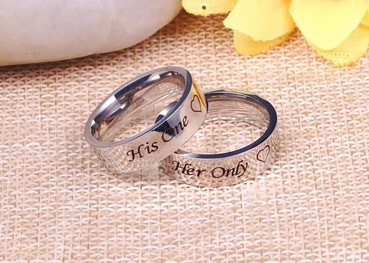 Amazon.com: Bishilin 2 PCS Stainless Steel Couple Rings with ...