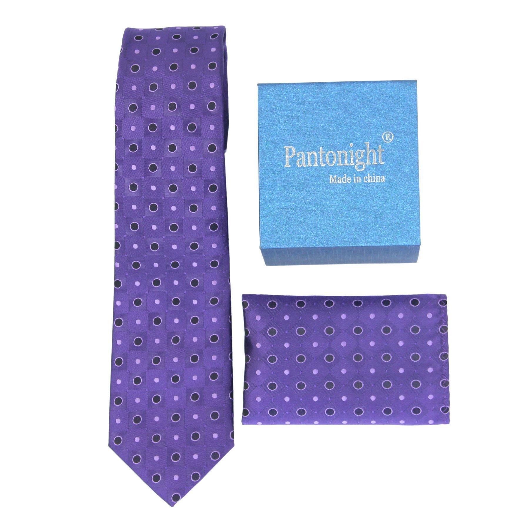 Purple Dot Necktie Woven Classic Ties for Men + Pocket Square Set - Jacqured Necktie Hanky Set - Mens Ties Neck Tie +gift box Multi Colors (purple dots 128)
