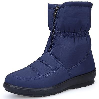 Eagsouni Damen Stiefeletten Stiefelette Wasserdicht Warm Stiefel Schneestiefel Mädchen Winter Schuhe Flach Boots Gefütterte Winterstiefel YfbyI7g6v