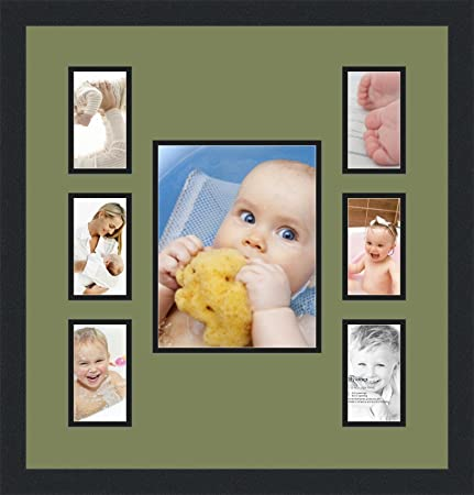60363bb514 Art to Frames Double-Multimat-672-861 89-FRBW26079 Collage Photo Frame  Double Mat with 1-8x10 and 6-3x5 Openings and Satin Black Frame   Amazon.co.uk  ...