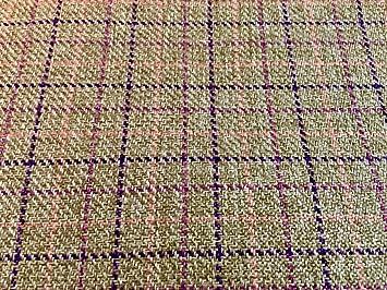 Premium Upholstery Weight Tweed Fabric Green Check
