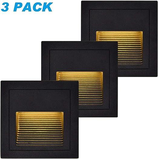 3 Paquetes) Luces de paso impermeables, JIWEI 3W Lámpara de escalera empotrada para exteriores, 300LM Lámparas