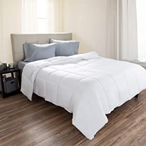 Lavish Home Twin Comforter, White Goose Down Alternative Comforter, Hypo-Allergenic, Quilted Box Stitched, All Season Bed Comforter
