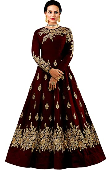 Shree Impex Womens Embroidered Taffeta Silk Gown Maroon Free Size