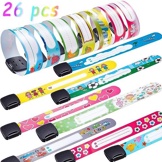 26 pulseras de identificación de seguridad para niños, ajustable ...