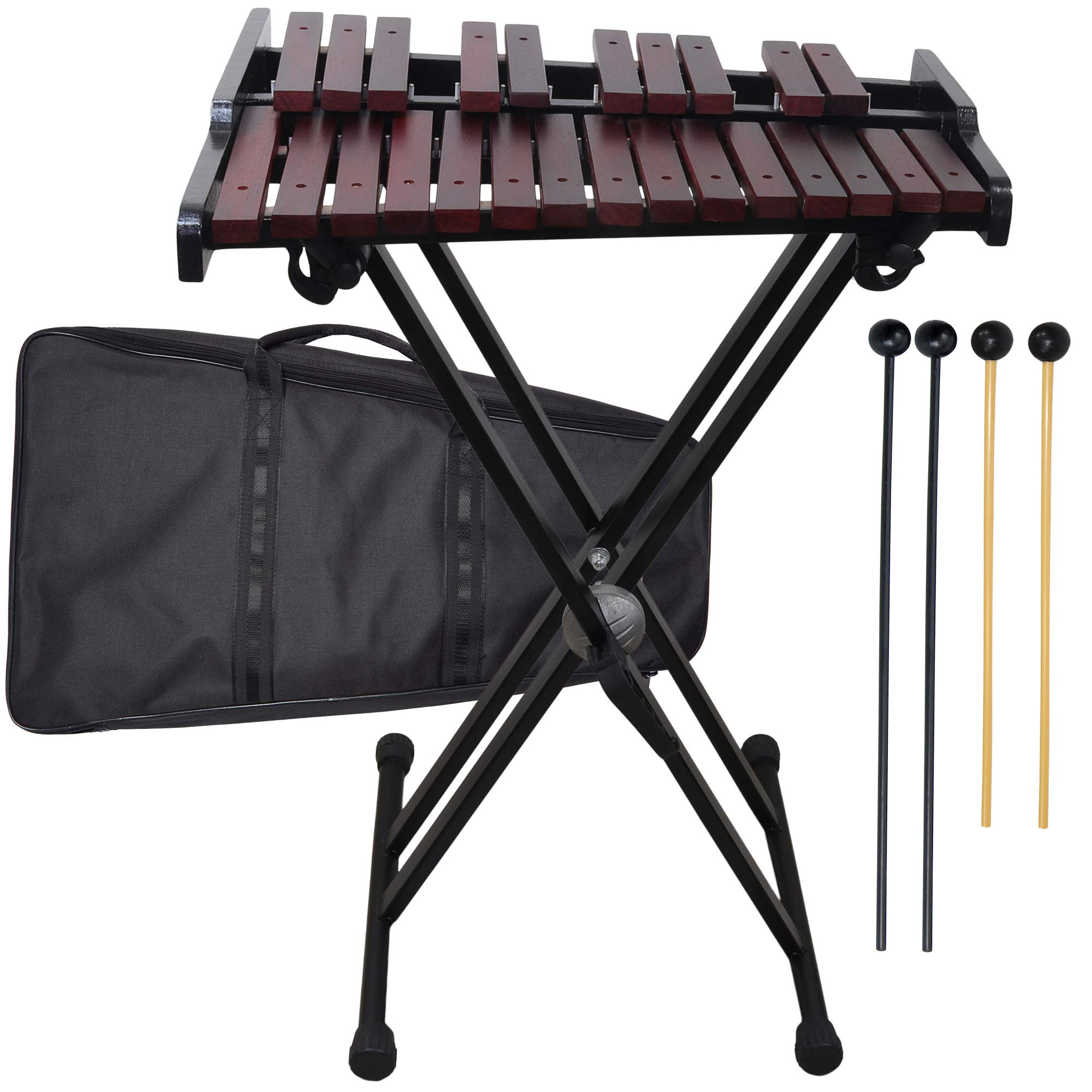 Wooden 25-note Xylophone with stand, 4 Mallets, Carrying bag by inTemenos