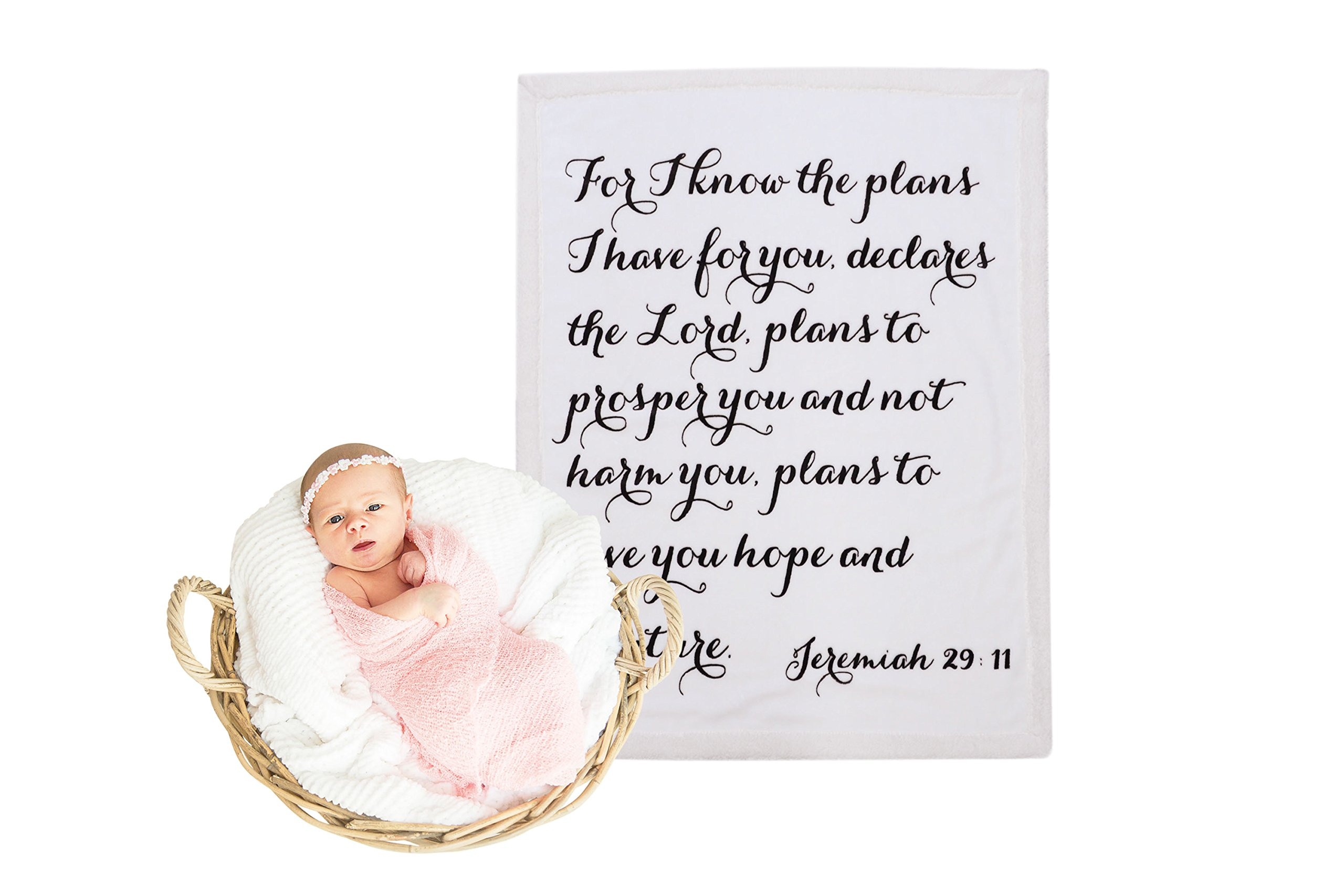 Religious Scripture Throw Blanket for Baby or Children   Jeremiah 29:11   Best Boy or Girl Shower or Birthday Gift   Ivory on Ivory Fleece Sherpa by Scripture Strong (Image #9)