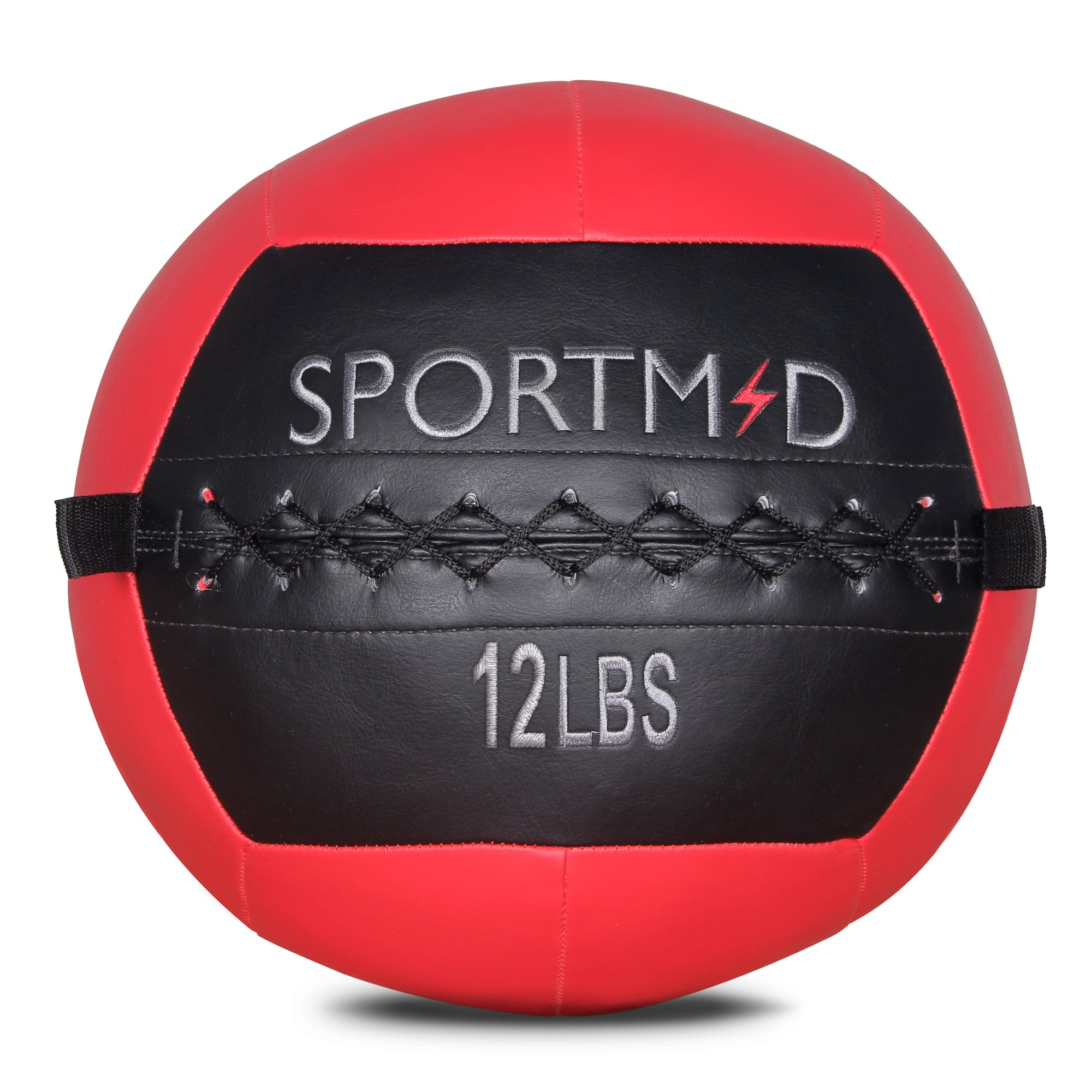Sportmad Soft Medicine Ball Wall Ball for CrossFit Exercises Strength Training Cardio Workouts Muscle Building Balance Red 12 LBS