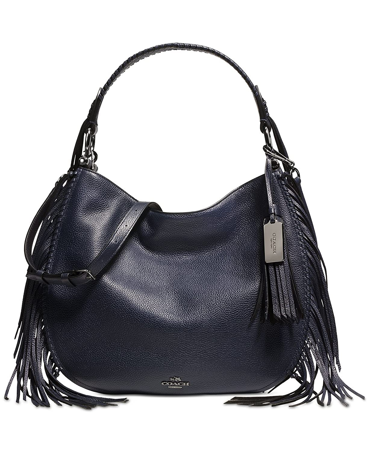 Amazon.com  COACH Nomad Fringe Hobo in Pebble Leather in Dark Nickel   Navy  Blue 37717  Shoes 8a0fb7c605aac