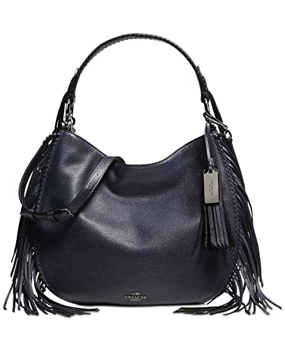 1ae56c5b09 Amazon.com  COACH Nomad Fringe Hobo in Pebble Leather in Dark Nickel   Navy  Blue 37717  Shoes