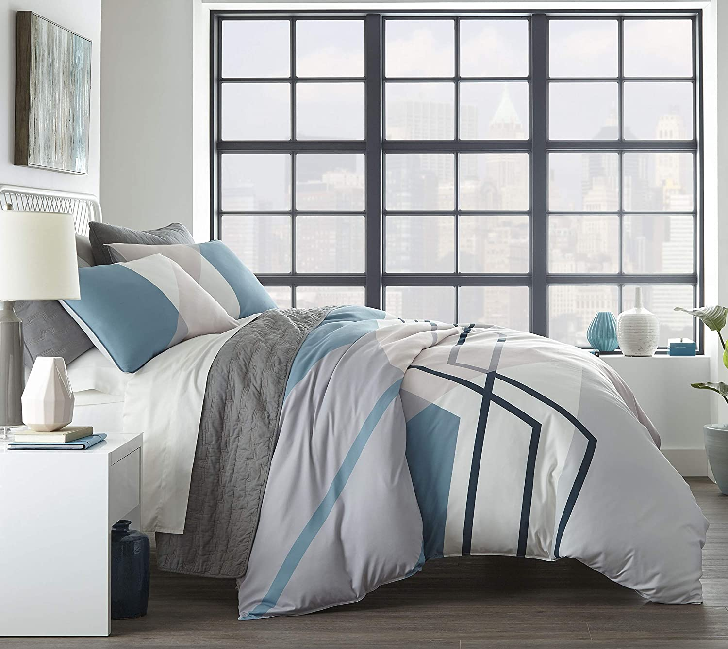 City Scene Thornton Comforter Set, Full/Queen, Blue