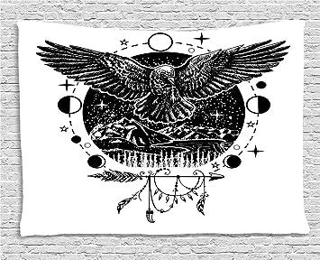 Lunarable Tapiz Crow, Tatuaje artístico, alas de pájaro con ...