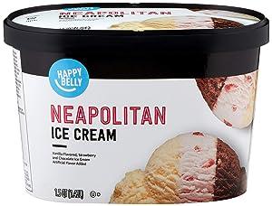 Amazon Brand - Happy Belly Neapolitan Ice Cream, 48 Fl Oz (Frozen)