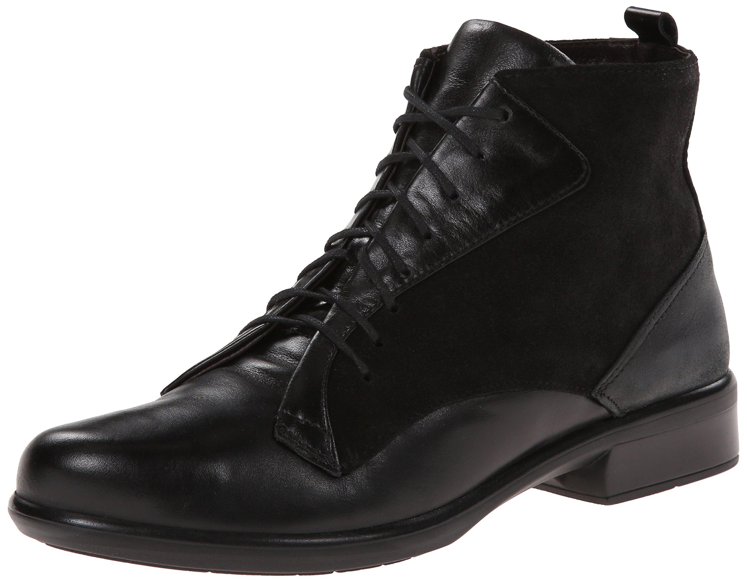 Naot Women's Mistral Boot, Black Madras/Black Shiny Leather, 38 EU/7 M US