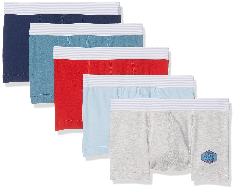 Petit Bateau Set of 5 Boys Plain Silk Screened Boxers Style 26411 Sizes 2-12