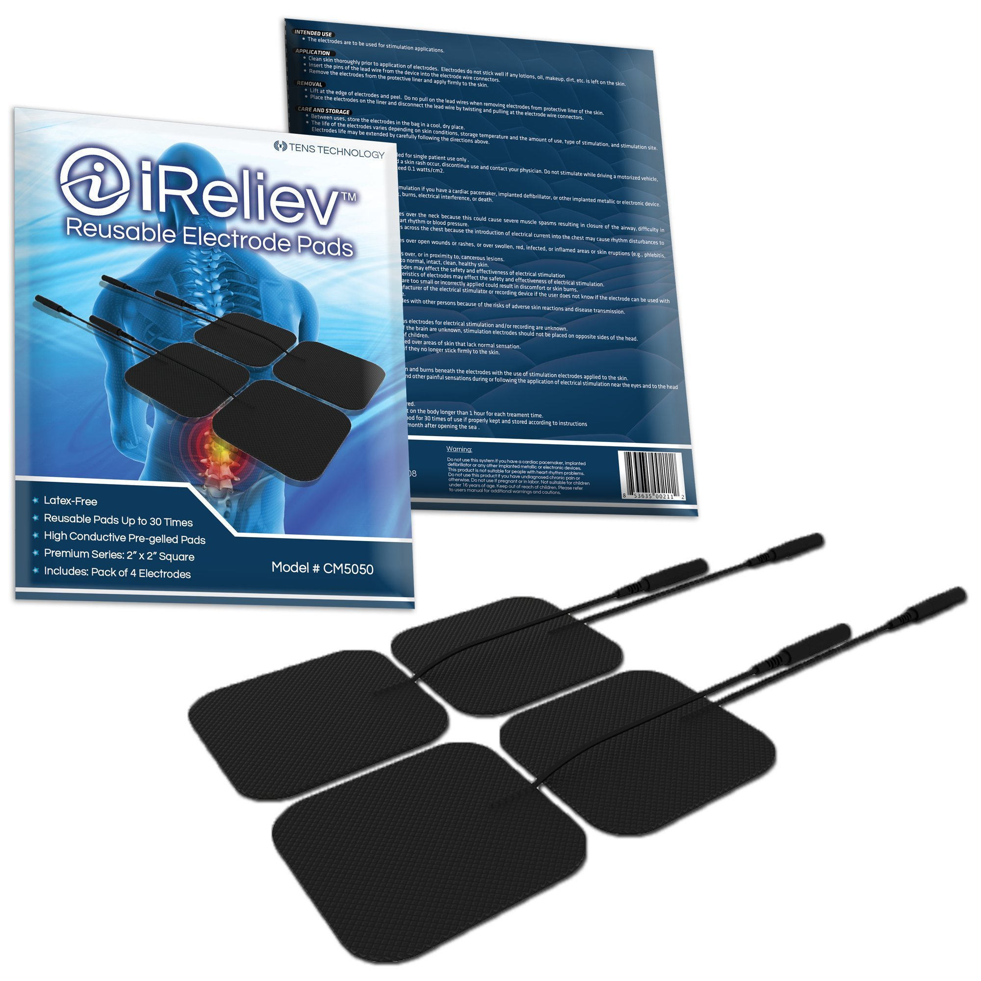 iReliev Premium Reusable TENS IF Muscle Stimulation Electrode Pads with Excellent Dispersion, 1 Pack of 4 Pads