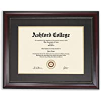 GreyBL 11x14 Diploma Frame - Displays 8.5x11 Certificate with Mat or 11x14 without - Mahogany Look Gold Trim - Double…