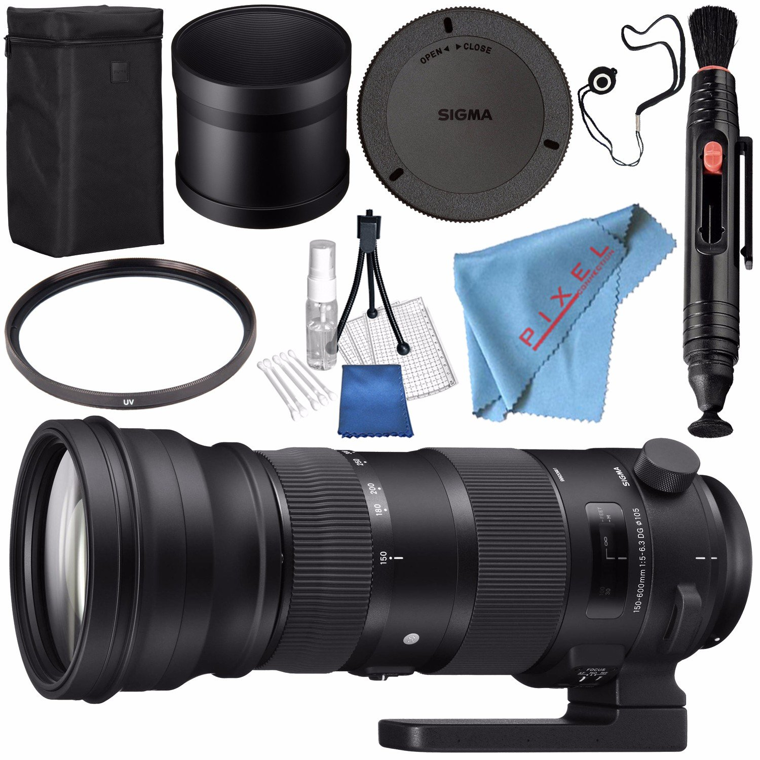 Sigma 150-600mm f/5-6.3 DG OS HSM Sports Lens for Canon EF 740101 + 105mm UV Filter + Lens Pen Cleaner + Fibercloth + Lens Capkeeper + Lens Cleaning Kit + Bundle by Sigma