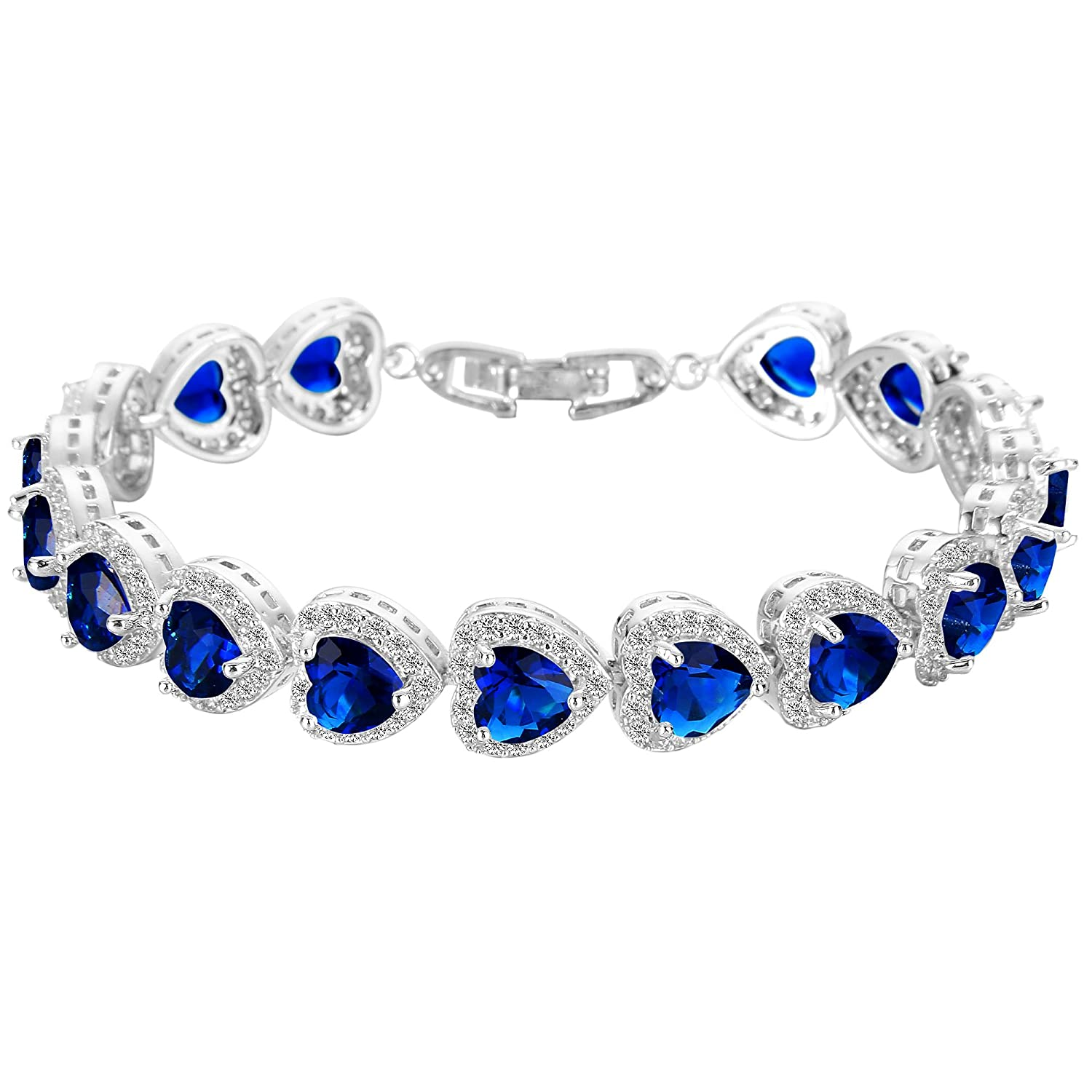 EVER FAITH Silver-Tone CZ Birthstone Gorgeous Heart-Shaped Roman Tennis Bracelet