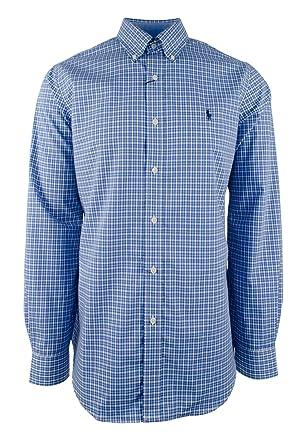 96a430ed6 ... inexpensive polo ralph lauren plaid poplin sport shirt button down  classic long sleeve white blue df33d