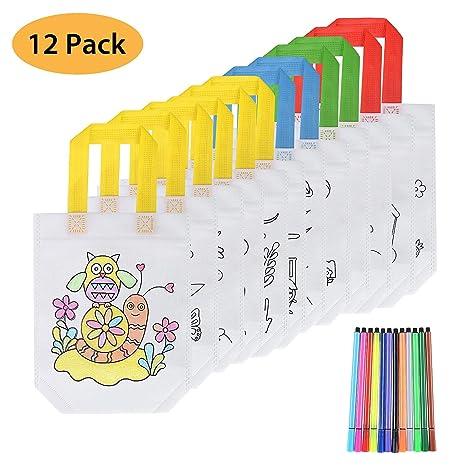 FORMIZON 12 Pcs Bolsas para Colorear, DIY Bolsas Infantiles para Colorear, 12 Diferentes Diseño + 12 x Lápices Textiles, Bolsas Infantiles Colorear ...