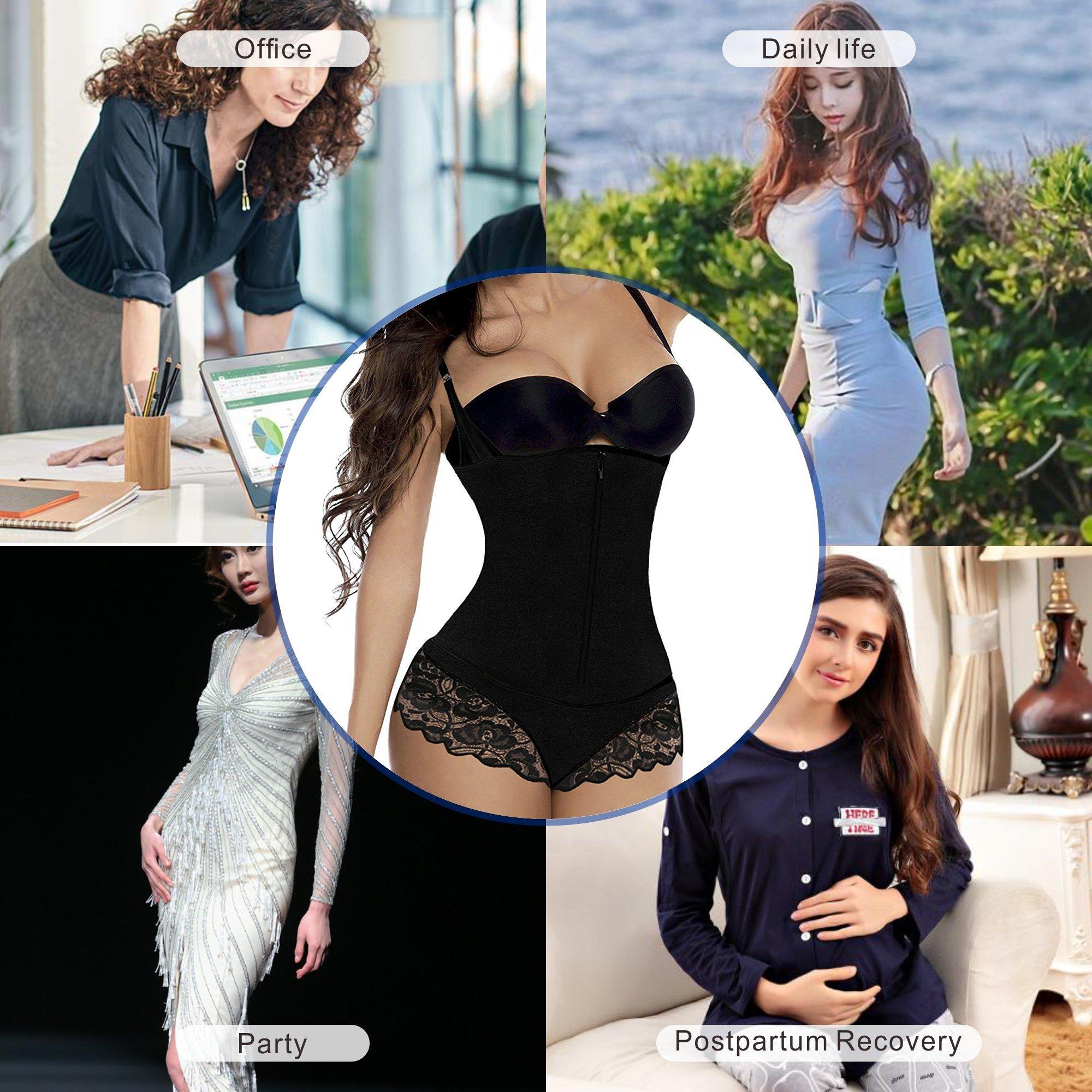 bde2c5fece SHAPERX Camellias Womens Faja Full Body Shaper Open Bust Firm Control  Bodysuit Shapewear with Lace Thong and Zipper