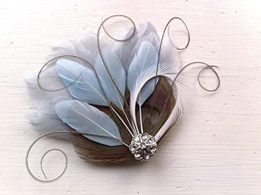 Oh Lucy Handmade JOLIE II Peacock Feather Hair Clip, Feather Fascinator, Bridal Hair Piece in Gray, Silver, Slate Blue, and White