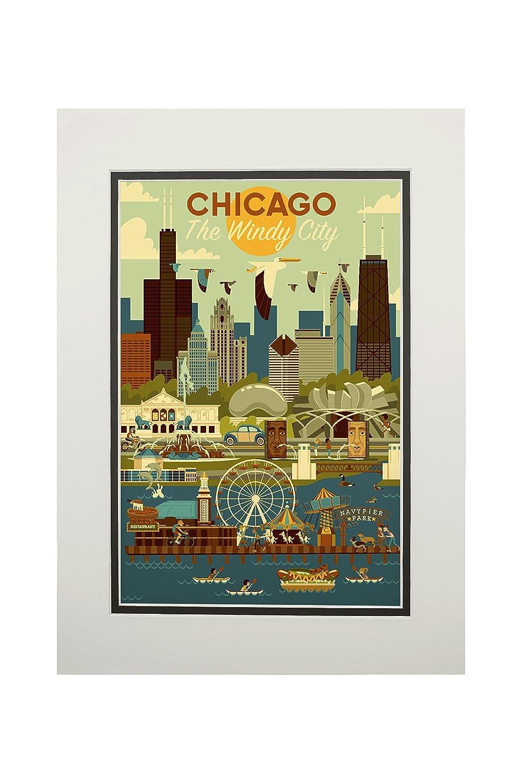 100%本物 シカゴ 24、イリノイ州 – Geometric 16 Matted x x 24 Giclee Print LANT-83140-16x24 B076PQWNT7 11 x 14 Matted Art Print 11 x 14 Matted Art Print, 幸区:8acb45e1 --- 4x4.lt