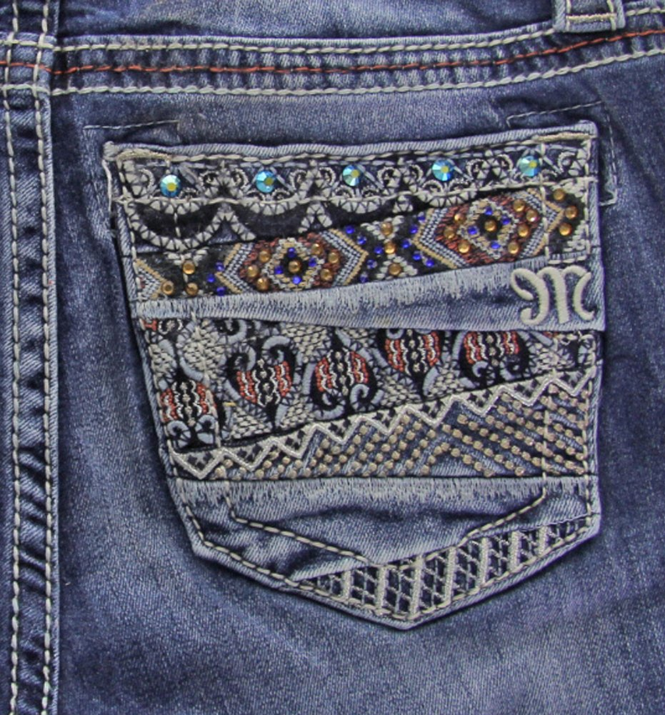 Miss Me Women's Tribal Embellished Pocket Jeans Boot Cut Indigo 26 by Miss Me
