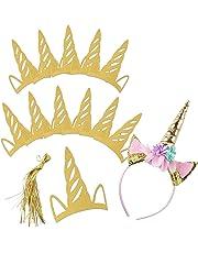 mciskin Licorne Bandeau Parti Chapeau + 10 PCS Glitter Papier Bandeaux Faveur d'anniversaire Pack, Anniversaire Chapeau Accessoires De Fête pour Enfants