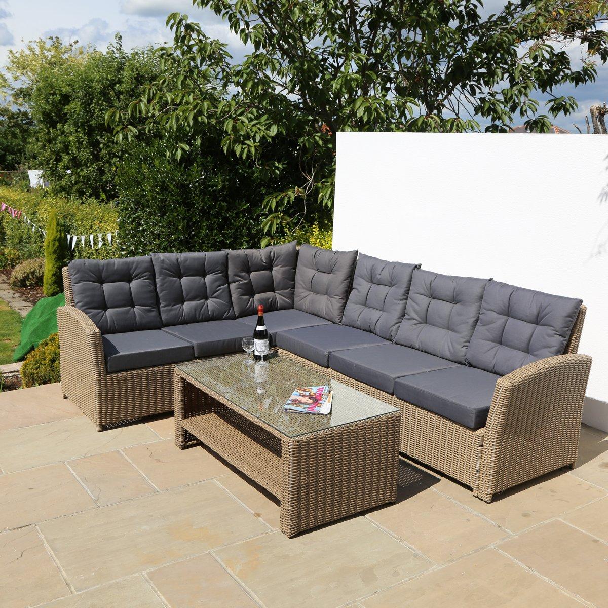 6-Sitzer Luxus braun Rattan Garten Möbel Set mit Kissen